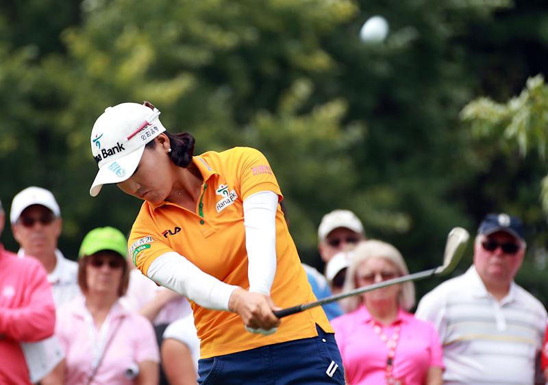 So Yeon Ryu of South Korea hits her tee shot on the 2nd hole during the fourth round of the LPGA Canadian Pacific Women's Open at the London Hunt and Country Club on August 24, 2014 in London, Ontario, Canada
