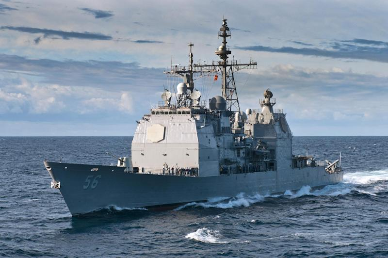 In this image provided by the U.S. Navy shows the guided-missile cruiser USS San Jacinto approaches at sea in the Atlantic Ocean June 6, 2012. The submarine USS Montpelier and the Aegis cruiser USS San Jacinto collided at approximately 3:30 p.m. EDT. Both the submarine and the ship were conducting routine training at the time of the accident.(AP Photo/US Navy, Specialist 1st Class Tommy Lamkin)