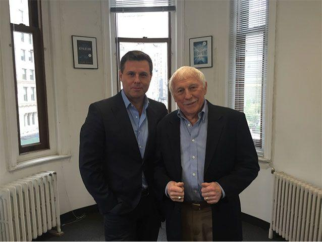 Bryan Seymour with Ron Miscavige, the father of Scientology leader David Miscavige, last week in New York.