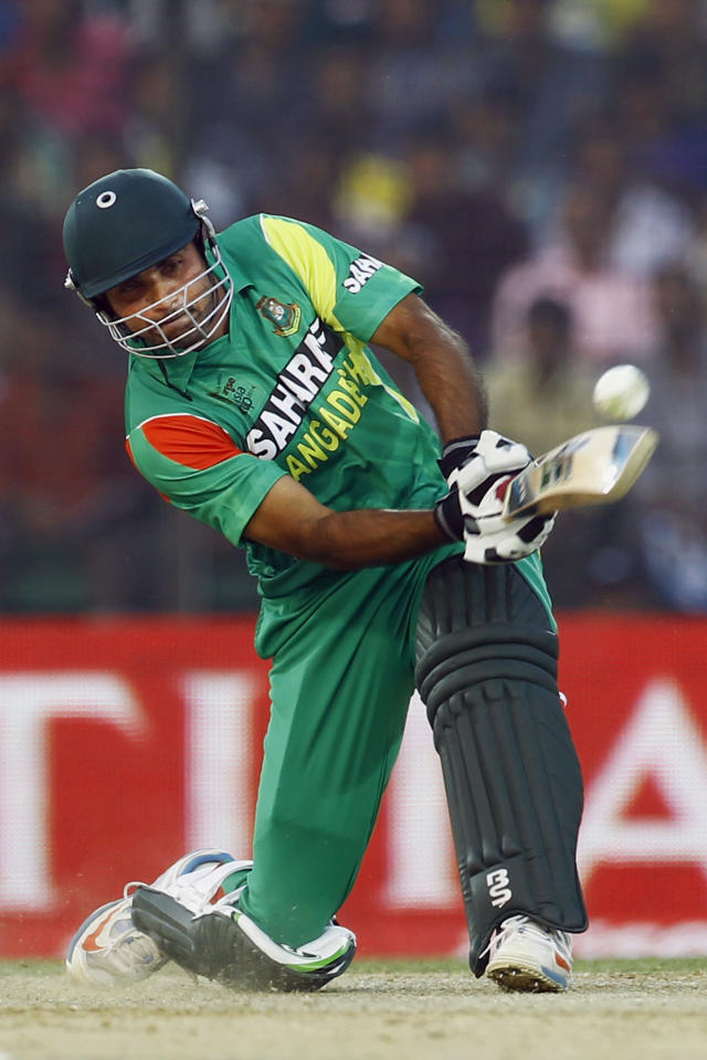 Bangladeshi Ziaur Rahman plays a shot during the Asia Cup one-day international cricket tournament against India in Fatullah, near Dhaka, Bangladesh, Wednesday, Feb. 26, 2014. (AP Photo/A.M. Ahad)