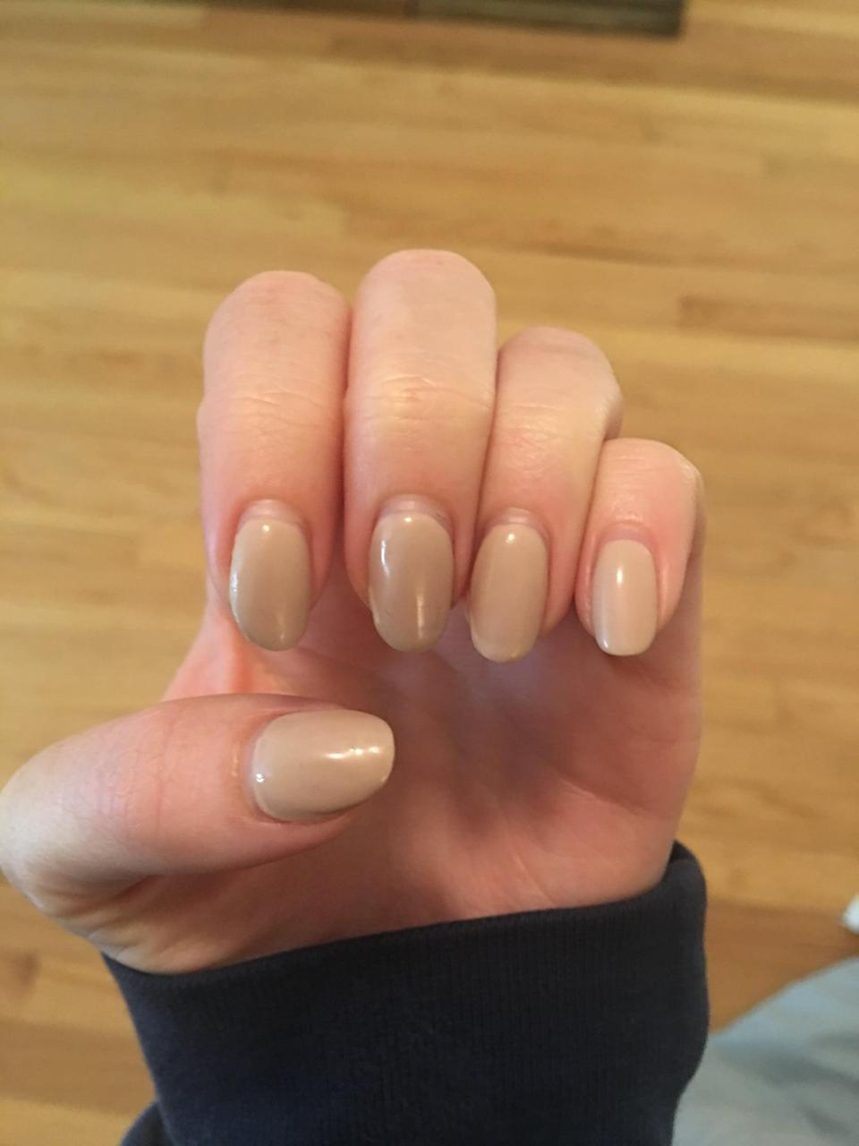 <p>Nary a chip in sight! This is two weeks (and one day) postmanicure. I'd been on vacation, in and out of a lake, and done multiple rounds of dishes. </p> <p>I'm never going to the salon again, y'all.</p>
