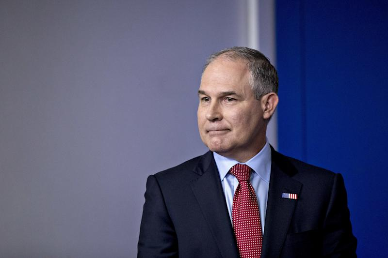 EPA Administrator Scott Pruitt announced changes to EPA advisory panels at a press conference. (Andrew Harrer/Bloomberg via Getty Images)