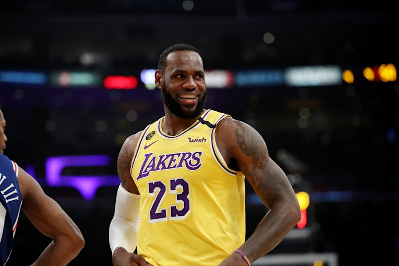 LeBron James of the Los Angeles Lakers looks on during their win against the Philadelphia 76ers during the first half at Staples Center on Tuesday. (Katelyn Mulcahy/Getty Images)