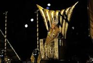 """<p>Madonna appeared as a Roman Empress in all gold, complete with headpiece, to start her halftime show.</p><p><a class=""""link rapid-noclick-resp"""" href=""""https://www.youtube.com/watch?v=ucdaEjd1Y4A&ab_channel=Madonna"""" rel=""""nofollow noopener"""" target=""""_blank"""" data-ylk=""""slk:WATCH NOW"""">WATCH NOW</a></p>"""