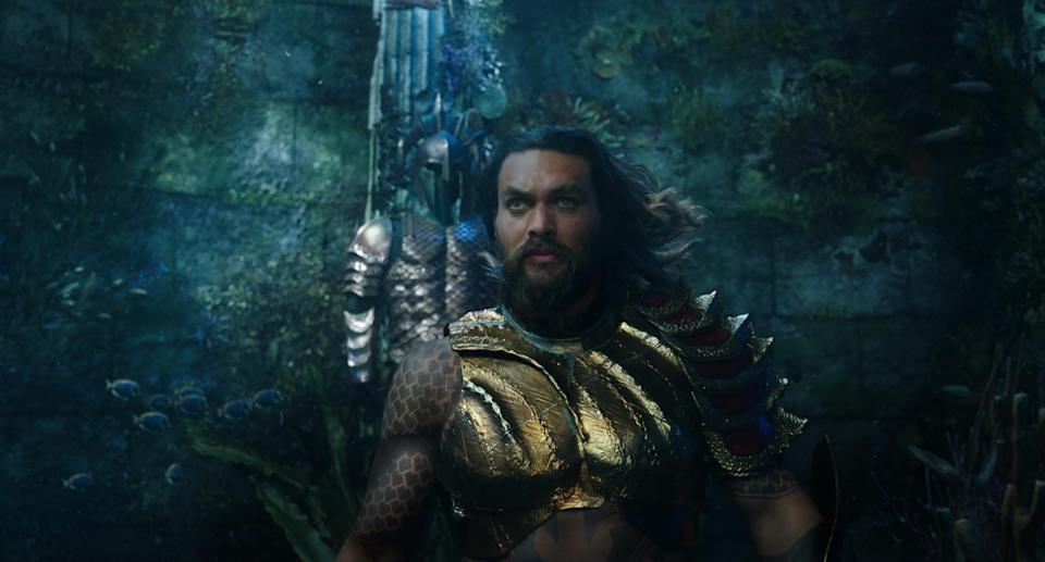 Jason Momoa in Aquaman (Credit: Warner Bros)