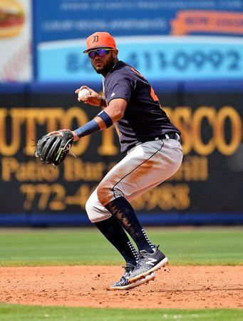 Feb 26, 2019; Port St. Lucie, FL, USA; Detroit Tigers shortstop Willi Castro (49) fields a ground ball before throwing out New York Mets designated hitter Brandon Nimmo (9, not pictured) in the second inning of the spring training game at First Data Field. Mandatory Credit: Jasen Vinlove-USA TODAY Sports