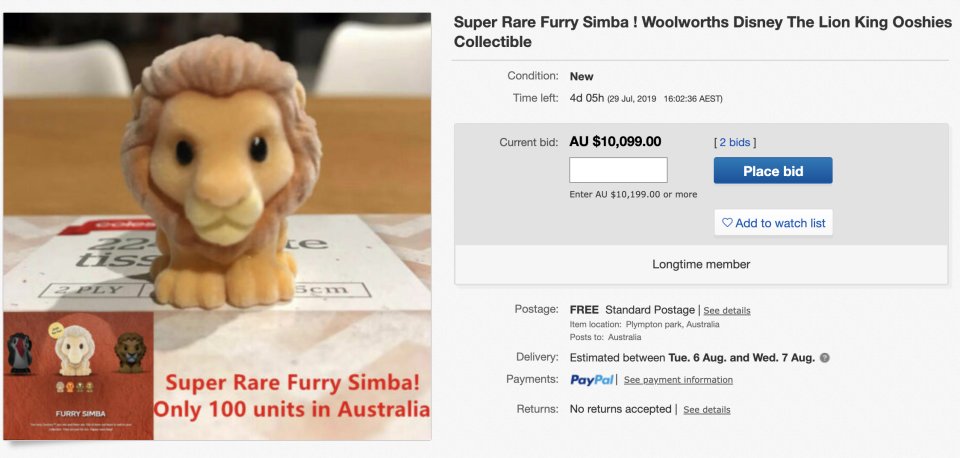 Pictured is the Ebay listing.