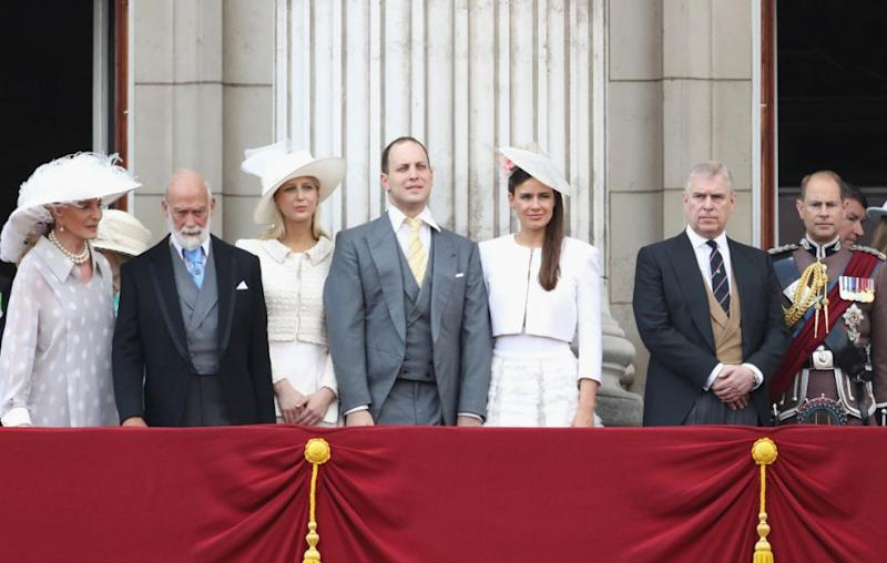 Lord Frederick Windsor's father the Prince of Kent is the Queen's cousin making Maud and George distant cousins. Here the Prince and Princess of Kent and Lord and Lady Windsor attend the Trooping of the Colour at Buckingham Palace earlier this year. Source: Getty