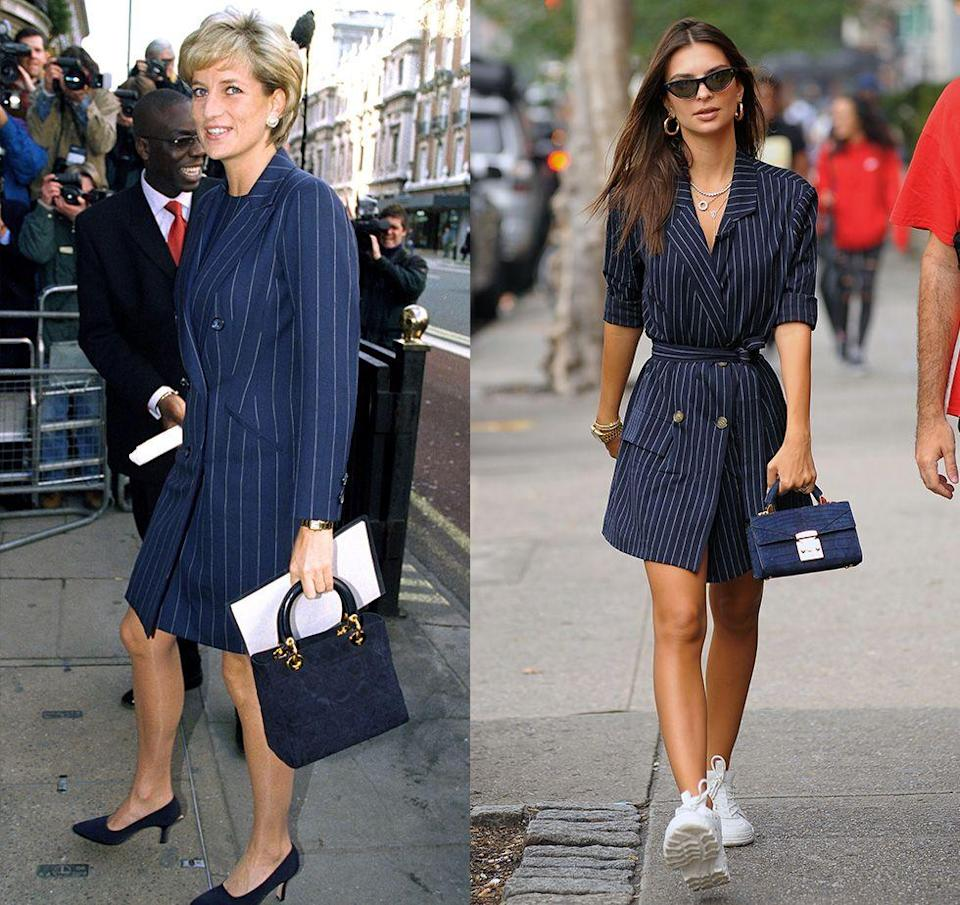 <p>It seems like Emily Ratajkowski drew inspiration from Princess Diana once again. In 2018, the model was seen strolling around New York City in a casual pinstripe blazer that was strikingly similar to the one Diana wore to a charity event in 1996.</p>
