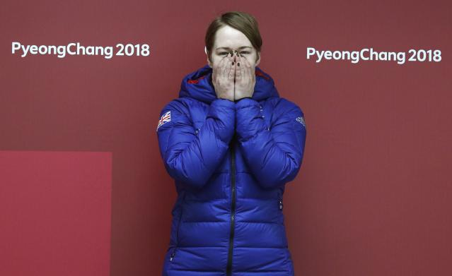 Skeleton - Pyeongchang 2018 Winter Olympics – Women's Finals - Olympic Sliding Center - Pyeongchang, South Korea – February 17, 2018 - Lizzy Yarnold of Britain celebrates. REUTERS/Edgar Su