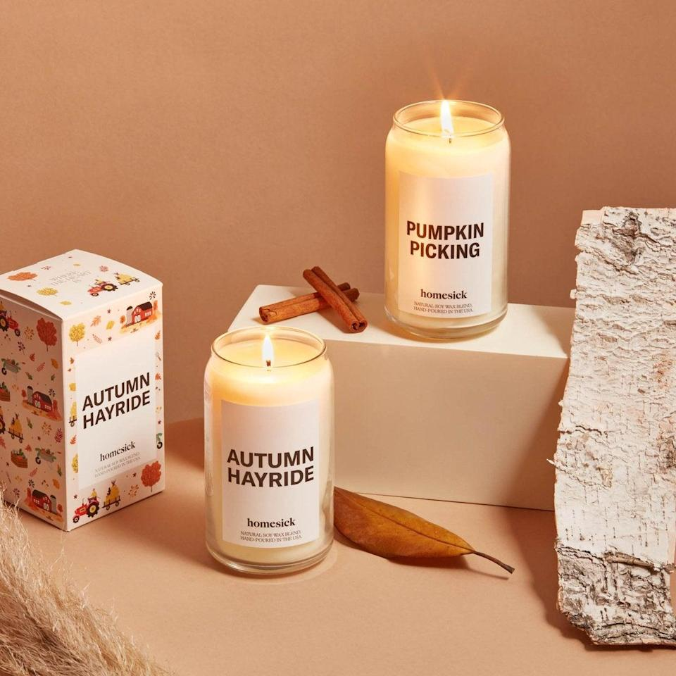 """<h2>Homesick Autumn Adventures Bundle</h2><br>Homesick makes candles infused with nostalgia, hence the brand name. If you're yearning for the fall feelings of youth, opt for the Autumn Adventures bundle. Fans love Homesick's Fall scents, including one happy reviewer who exclaimed, """"This candle holds has all my fond memories of fall and holds all the excitement this autumn has to bring. I love it! It has such an incredible scent. I love the fact that it's healthy and has a long burn time too.""""<br><br><em>Shop</em> <a href=""""https://homesick.com/collections/fall-favorites"""" rel=""""nofollow noopener"""" target=""""_blank"""" data-ylk=""""slk:Homesick"""" class=""""link rapid-noclick-resp""""><strong><em>Homesick</em></strong></a> <br><br><strong>Homesick</strong> Autumn Adventures Bundle, $, available at <a href=""""https://go.skimresources.com/?id=30283X879131&url=https%3A%2F%2Fhomesick.com%2Fcollections%2Ffall-favorites%2Fproducts%2Fautumn-adventures-bundle"""" rel=""""nofollow noopener"""" target=""""_blank"""" data-ylk=""""slk:Homesick"""" class=""""link rapid-noclick-resp"""">Homesick</a>"""