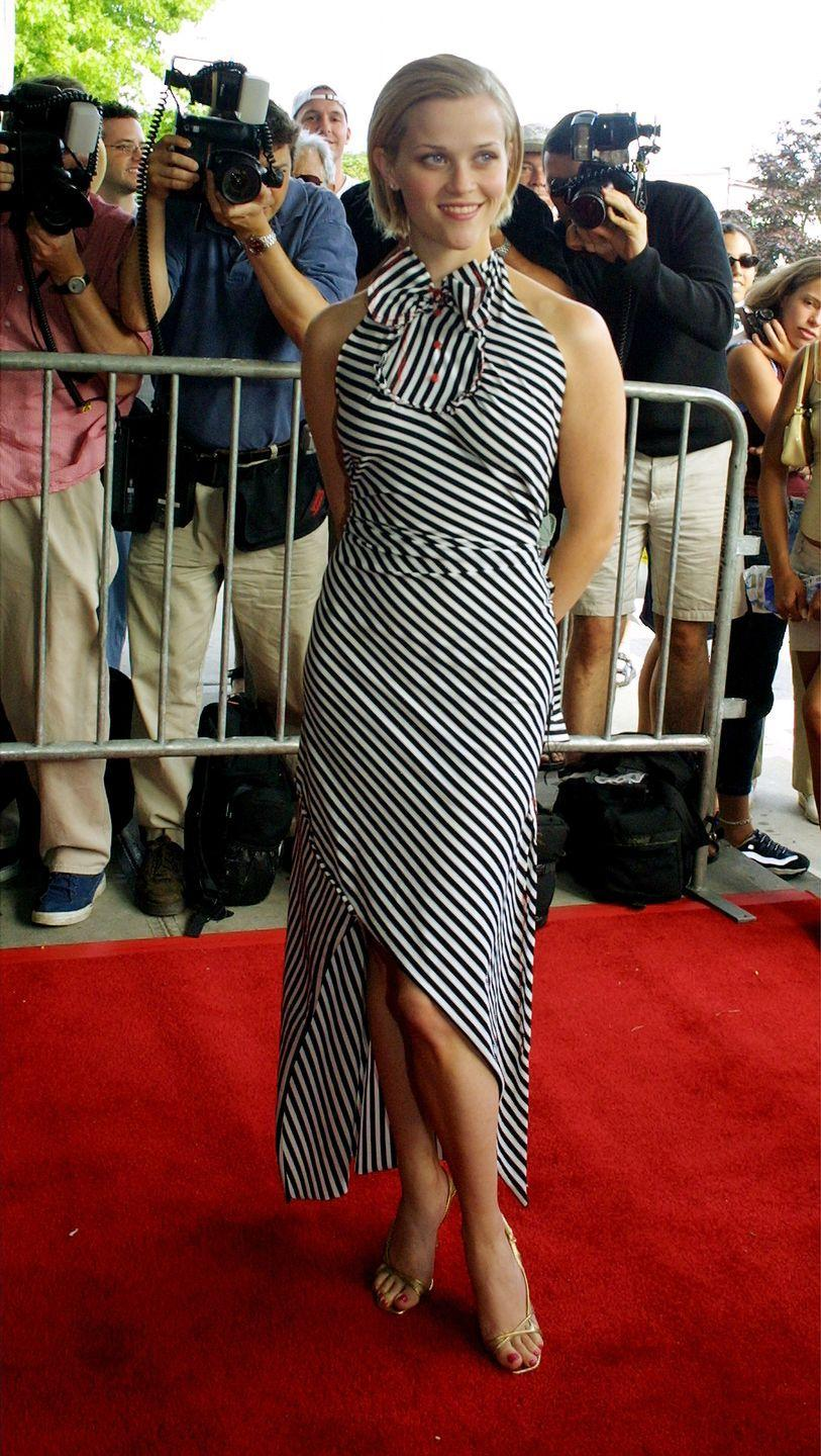 <p>The Legally Blonde star kept it young and fun in a graphic summer dress in 2001. </p>