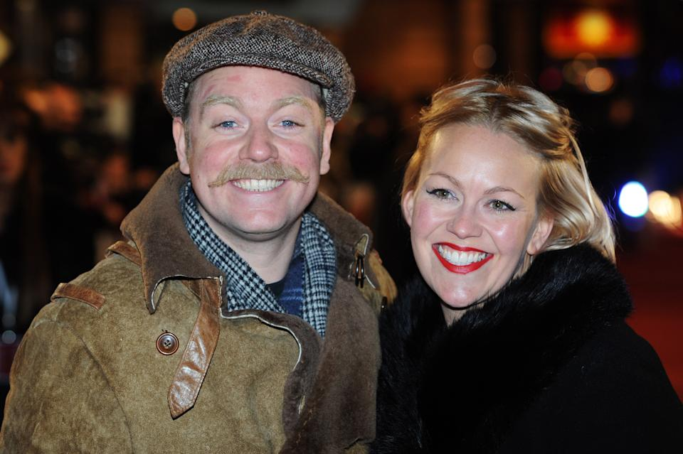 """LONDON, ENGLAND - DECEMBER 11: Rufus Hound attends the UK premiere of """"Anchorman 2: The Legend Continues"""" at The Vue West End on December 11, 2013 in London, England. (Photo by Dave J Hogan/Getty Images)"""