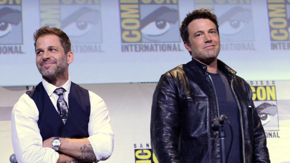 Zack Snyder and Ben Affleck attend the Warner Bros. Presentation during Comic-Con International 2016. (Photo by Albert L. Ortega/Getty Images)