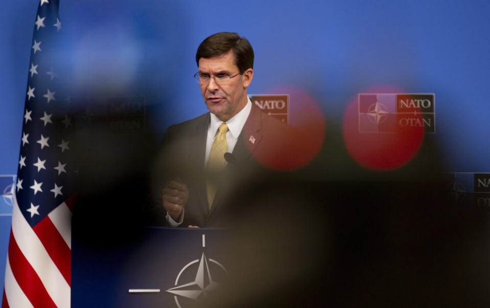 U.S. Secretary for Defense Mark Esper speaks during a media conference at the conclusion of a meeting of NATO defense ministers at NATO headquarters in Brussels, Thursday, Feb. 13, 2020. (AP Photo/Virginia Mayo)