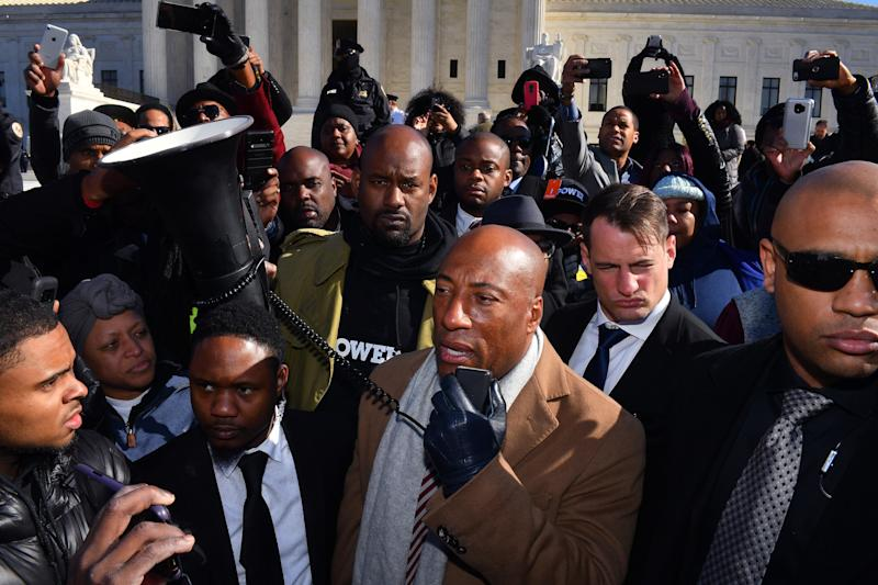 Byron Allen, founder of Entertainment Studios, appears outside the Supreme Court after his racial discrimination lawsuit against cable giant Comcast was argued Wednesday.