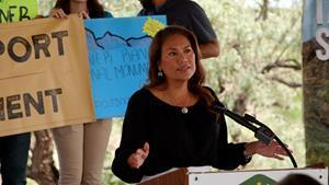 U.S. Rep. Veronica Escobar, D-Texas, speaks at a news conference on July 23, 2021, alongside El Pasoans who have come together to rally around the designation of Castner Range as a national monument. The news conference was held during Latino Conservation Week.