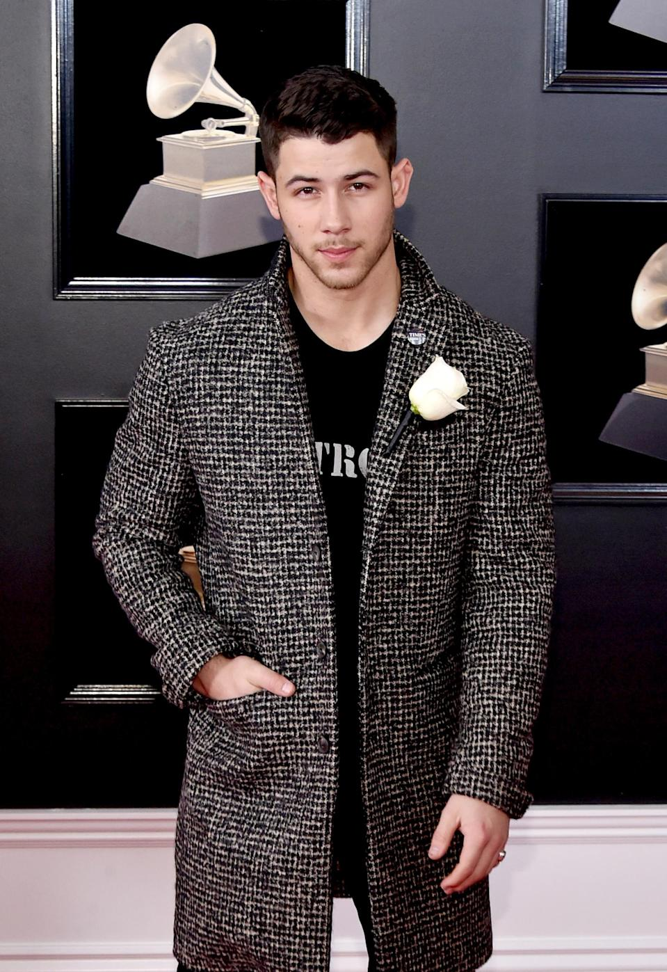 Nick Jonas attends the 60th Annual Grammy Awards. (Photo: Getty Images)