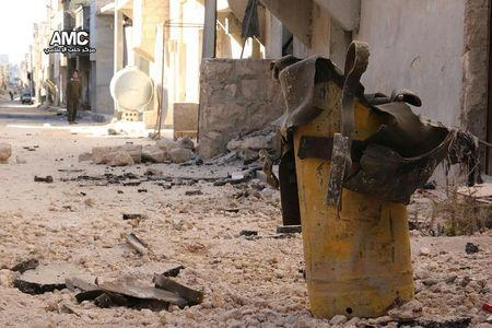 Handout photo provided to Reuters on February 13, 2017, by Human Rights Watch claiming to show remnant of a yellow gas cylinder found in Masaken Hanano, Aleppo, after a chlorine attack on November 18, 2016. Courtesy of Human Rights Watch/Handout via REUTERS