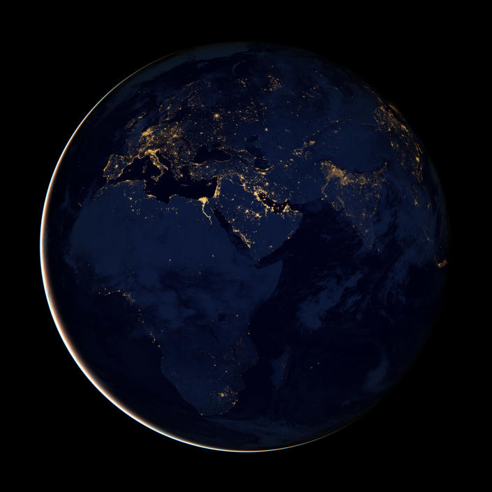 This new image of Europe, Africa, and the Middle East at night is a composite assembled from data acquired by the Suomi NPP satellite in April and October 2012. The new data was mapped over existing Blue Marble imagery of Earth to provide a realistic view of the planet. (NASA)