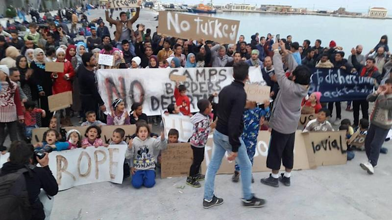 Refugees on Chios, Greece protest their forced repatriation to Turkey in April 2016. PHOTO: Gabrielle Tay