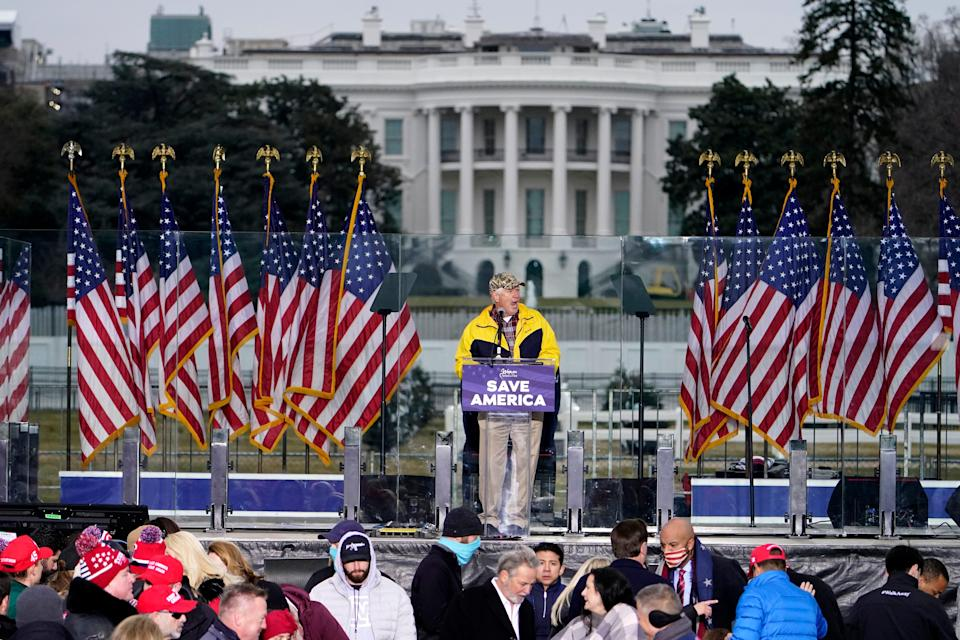 """Rep. Mo Brooks, R-Ark., speaks Jan. 6 in Washington at the """"Save America"""" rally in support of President Donald Trump. After the rally, some of the president's supporters stormed the Capitol to try to stop the congressional confirmation of the election Trump lost in November."""