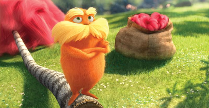 "In this film image released by Universal Pictures, animated character Lorax, voiced by Danny Devito, is shown in a scene from ""Dr. Seuss' The Lorax.""  Universal's ""Dr. Seuss' The Lorax"" has taken root at the top of the domestic box office, with robust midweek growth of more than $3 million per day and a likely second-weekend gross of around $50 million following its year-topping $70 million opening. (AP Photo/Universal Pictures)"