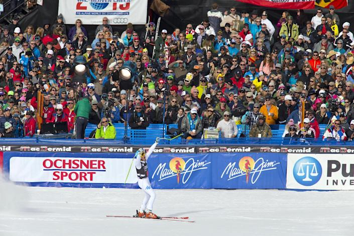 Christof Innerhofer of Italy, reacts in the finish area after his run in the men's World Cup downhill ski race in Beaver Creek, Colo., on Friday, Nov. 30, 2012. Innerhofer won the race. (AP Photo/Nathan Bilow)