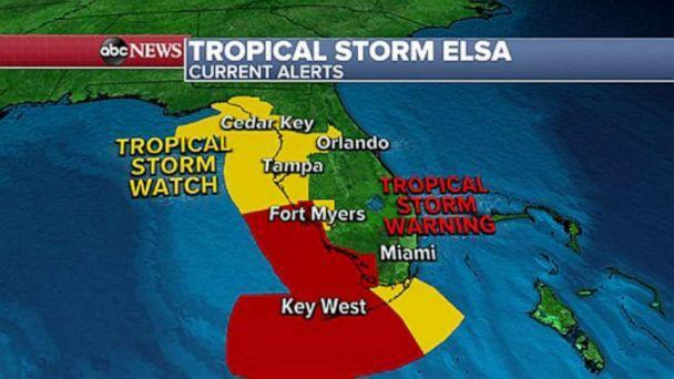 PHOTO: A map of the Florida area shows alerts for tropical storm Elsa. (ABC News)