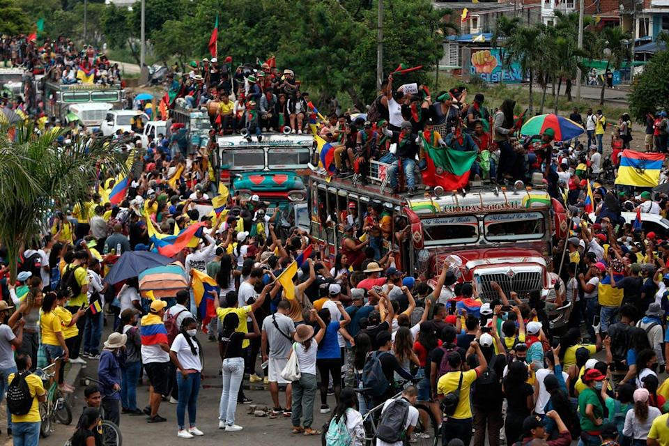 Indigenous demonstrators at an anti-government march.