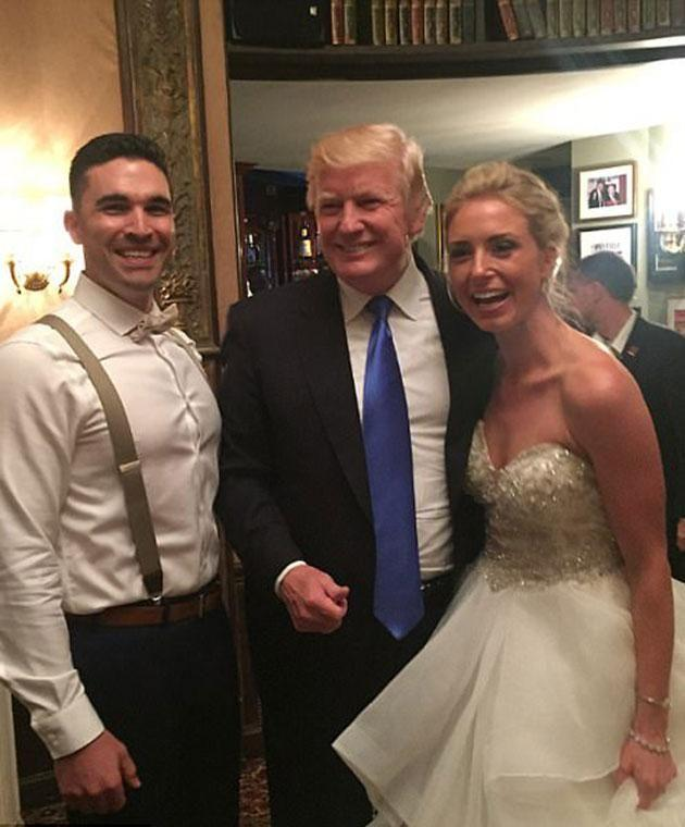 Donald Trump post with the happy couple. Photo: Instagram