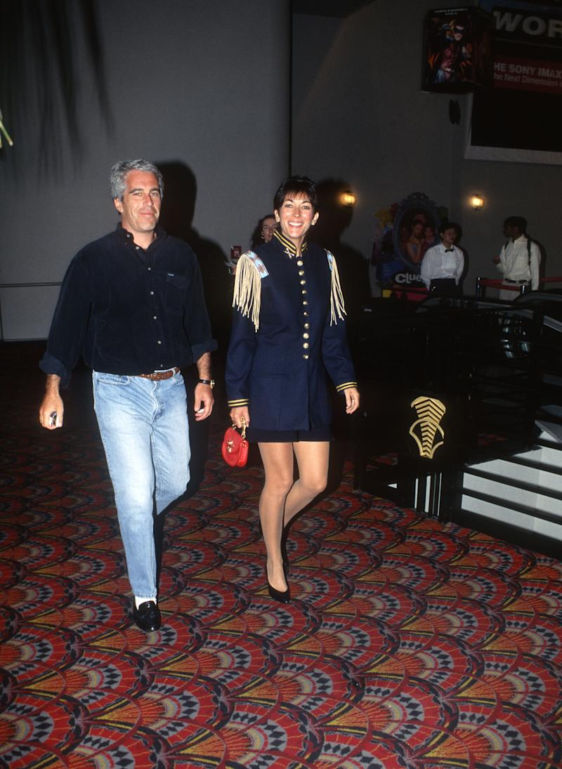 Jeffrey Epstein and Ghislaine Maxwell shown arriving at an event in 1995. Source: Getty Images