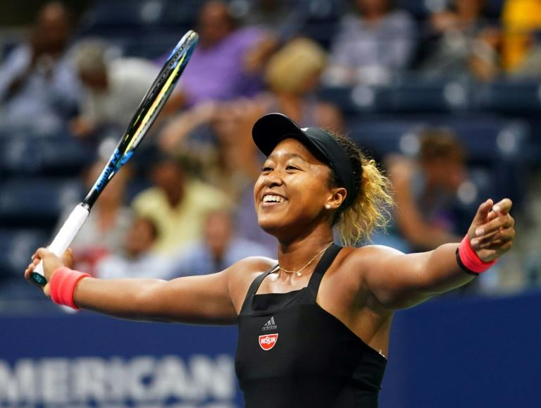 Breakthrough: Naomi Osaka celebrates her victory over Madison Keys in the US Open semi-finals