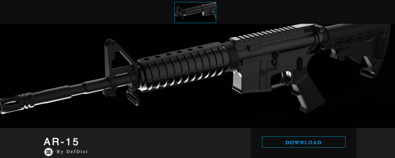 A screenshot of the Defense Distributed page offering downloadable blueprints for an AR-15. (Defense Distributed)