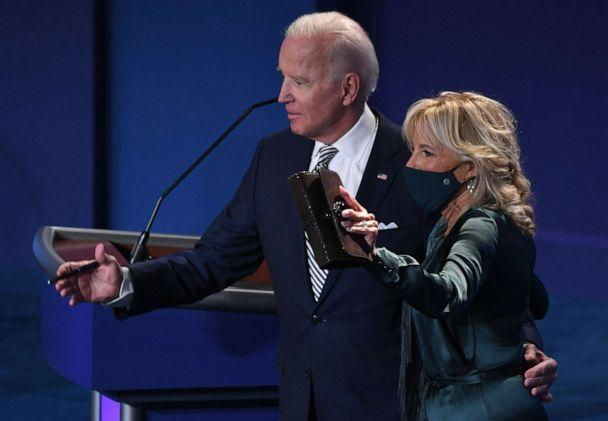 PHOTO: Democratic Presidential candidate and former Vice President Joe Biden and his wife Jill Biden leave after the first presidential debate at Case Western Reserve University and Cleveland Clinic in Cleveland, Sept. 29, 2020. (Saul Loeb/AFP via Getty Images)