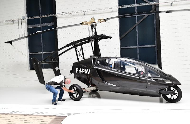 Dutch flying car developer PAL-V is offering a two-seater gyrocopter that will also be able to run on the road (AFP Photo/EMMANUEL DUNAND)