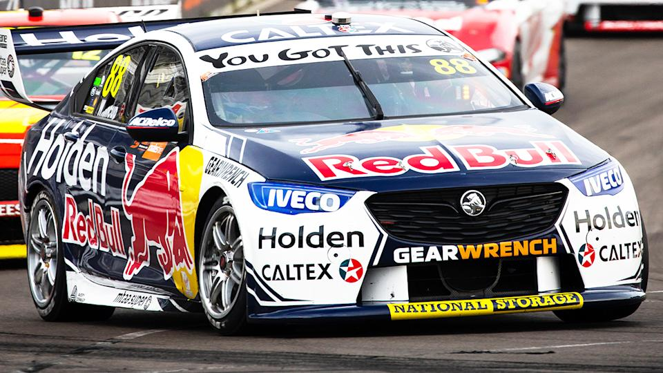 Jamie Whincup, pictured here driving the #88 Red Bull Holden Racing Team Holden Commodore at the Newcastle 500.