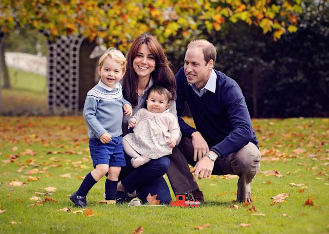 <p>A autumnal photo, taken in late October at Kensington Palace, was picked as the Cambridge's Christmas family photo at the end of 2015. (Photo by Chris Jelf/Kensington Palace via Getty Images) </p>