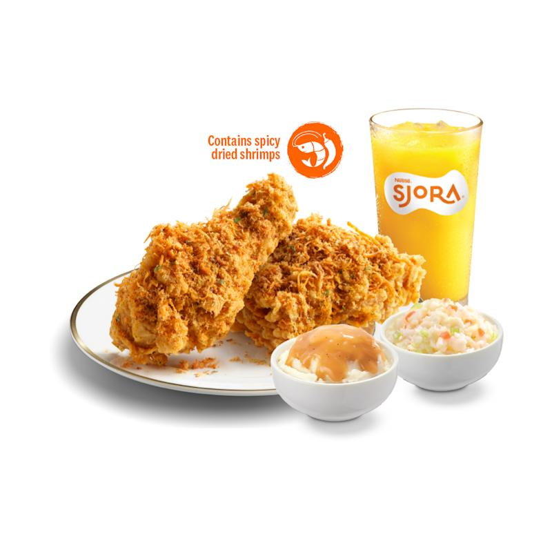 KFC is launching Flossy Crunch Chicken on 21 July 2020. Flossy Crunch Chicken is a combination of KFC's crispy fried chicken, coated in curry and local spices, and topped with a special spicy-sweet chicken floss. (Photo: KFC Singapore)