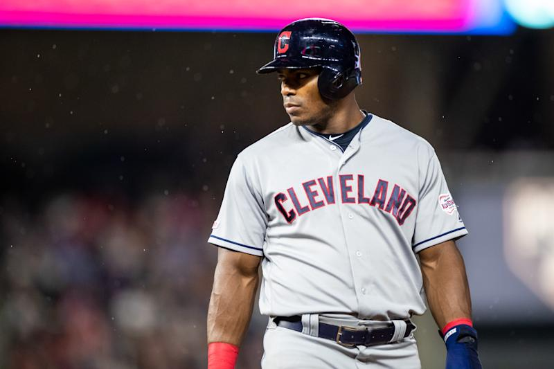 MINNEAPOLIS, MN - AUGUST 10: Yasiel Puig #66 of the Cleveland Indians looks on against the Minnesota Twins on August 10, 2019 at the Target Field in Minneapolis, Minnesota. The Twins defeated the Indians 4-1. (Photo by Brace Hemmelgarn/Minnesota Twins/Getty Images)