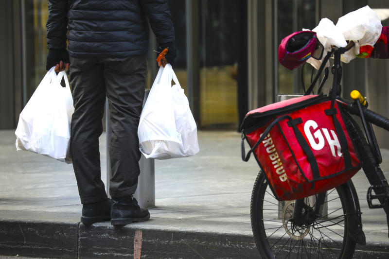 GrubHub is among many competing for your food order. (Photo by Drew Angerer/Getty Images)