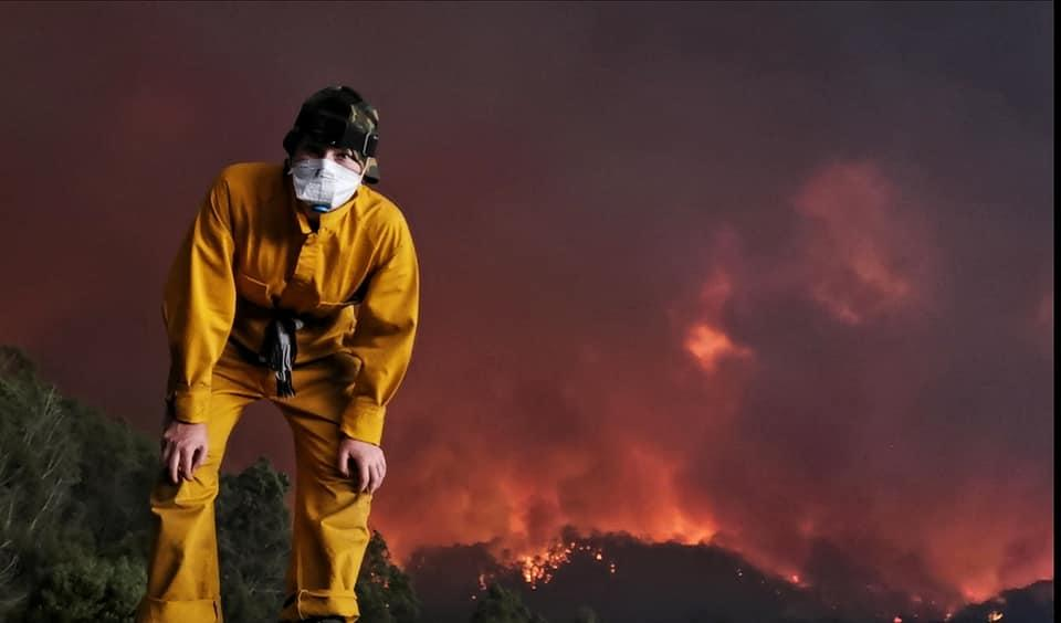 India MacDonell on her family property in Victoria fighting bushfire with her dad.