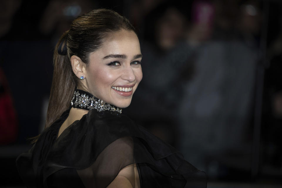 Actress Emilia Clarke poses for photographers upon arrival at the premiere of the film 'Last Christmas' in London, Monday, Nov. 11, 2019. (Photo by Vianney Le Caer/Invision/AP)