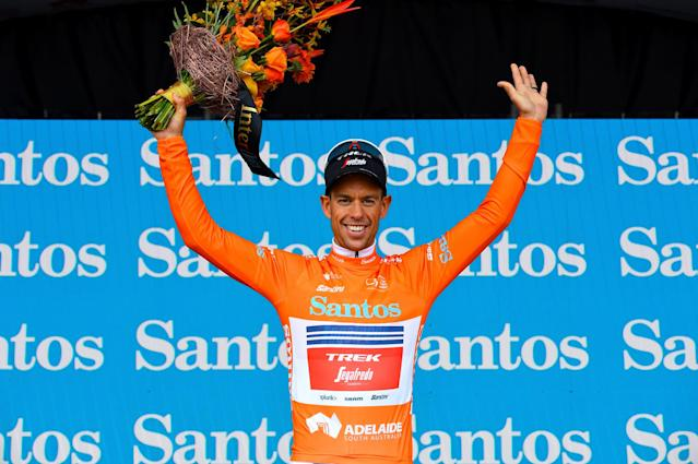 Richie Porte in the ochre jersey as new leader of the 2020 Tour Down Under after stage 3 to Paracombe
