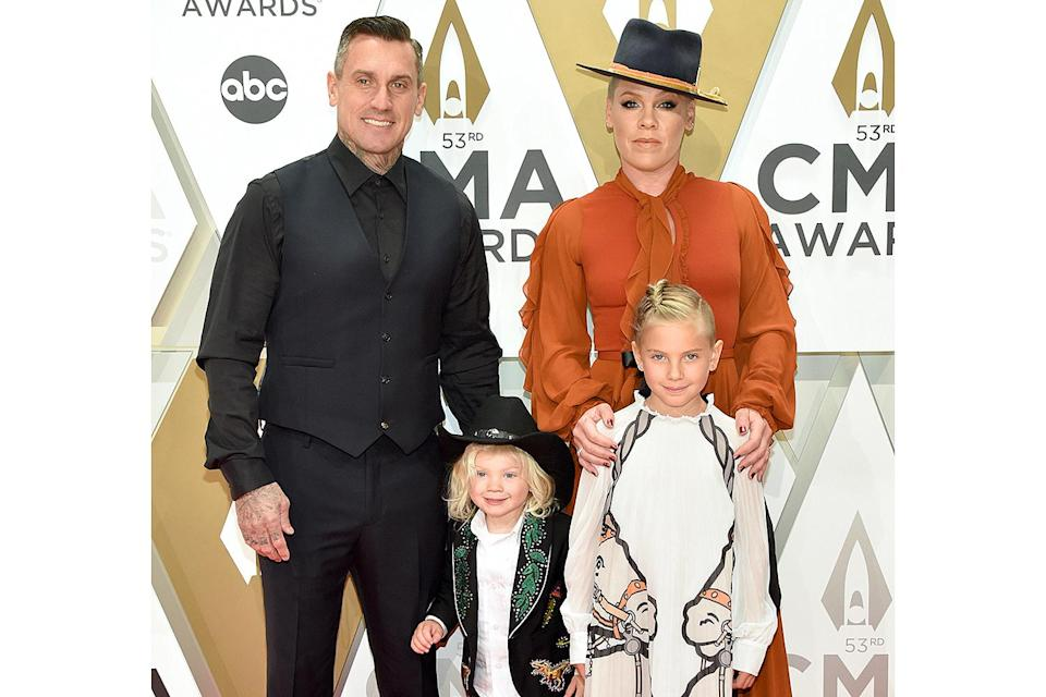 """<p>The singer and former pro motorcycle racer, who wed in 2006, have raised their daughter Willow and son Jameson to celebrate traditions of both Pink's Jewish background and Hart's Christian one. On Instagram, Pink has shared snaps of the family's <a href=""""https://www.instagram.com/p/B6fJDmmJRoA/"""" rel=""""nofollow noopener"""" target=""""_blank"""" data-ylk=""""slk:Christmas tree"""" class=""""link rapid-noclick-resp"""">Christmas tree</a> as well as their <a href=""""https://www.instagram.com/p/B6evz26pNQ3/"""" rel=""""nofollow noopener"""" target=""""_blank"""" data-ylk=""""slk:menorah"""" class=""""link rapid-noclick-resp"""">menorah</a> over the years. </p>"""