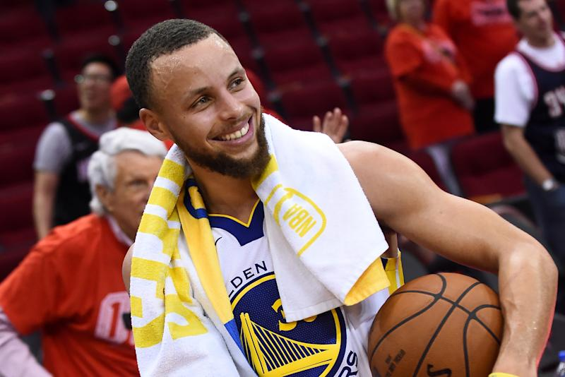 Stephen Curry #30 of the Golden State Warriors after Game Seven of the Western Conference Finals against the Houston Rockets during the 2018 NBA Playoffs on May 28, 2018 at the Toyota Center in Houston, Texas.