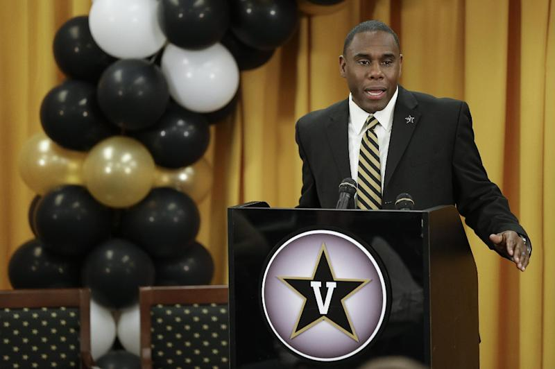 Derek Mason addresses the media as he is introduced as the new Vanderbilt football coach during an NCAA college football news conference Saturday, Jan. 18, 2014, in Nashville, Tenn. Mason was previously the defensive coordinator at Stanford
