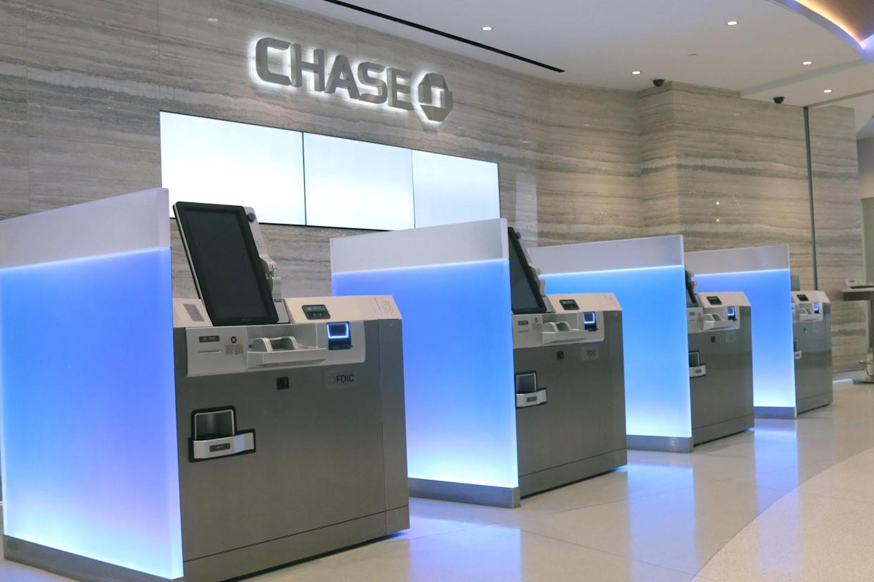Inside a Chase banking branch lobby.