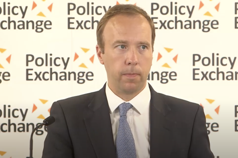 Matt Hancock announced Public Health England will be axed during a speech at the Policy Exchange think tank on Tuesday. (PolicyExchangeUK/YouTube)