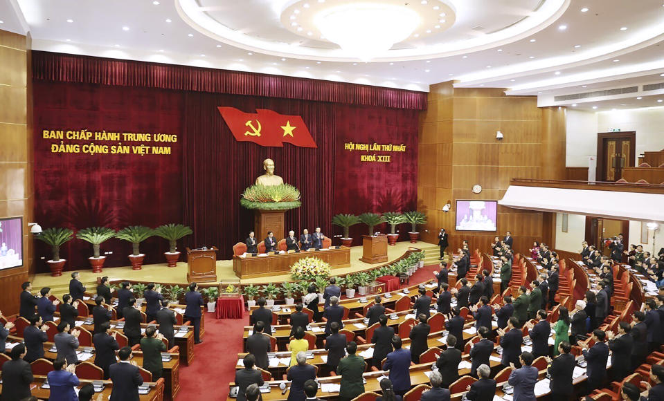 Vietnam Communist party central committee holds a meeting in Hanoi, Vietnam, Sunday, Jan. 31, 2021. Vietnam Communist Party has re-elected Nguyen Phu Trong for another term as the party's General Secretary, the country de-facto top leader. (Le Tri Dung/VNA via AP)